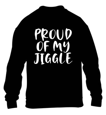 Proud of my jiggle children's black sweater 12-13 Years