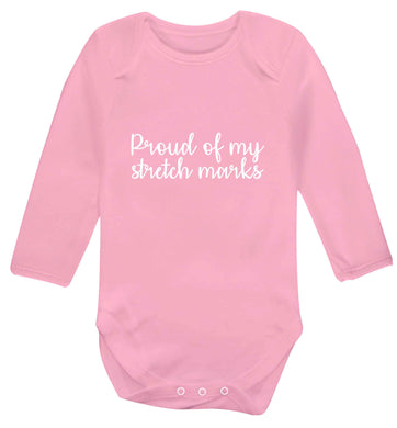 Proud of my stretch marks baby vest long sleeved pale pink 6-12 months