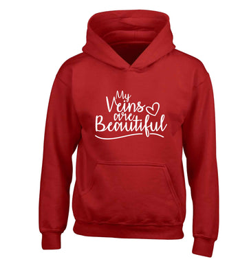 My Veins are Beautiful children's red hoodie 12-13 Years