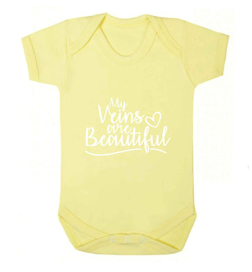 My Veins are Beautiful baby vest pale yellow 18-24 months
