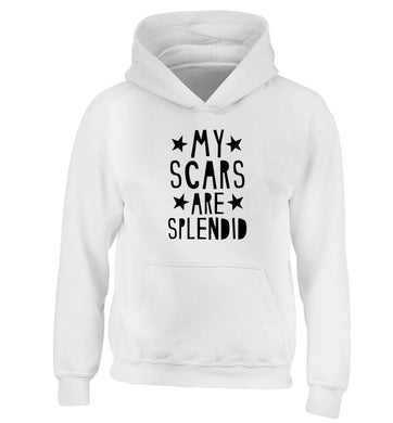 My scars are beautiful children's white hoodie 12-13 Years