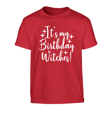 It's my birthday witches!Children's red Tshirt 12-13 Years