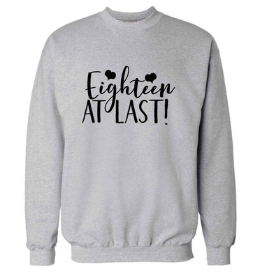 Eighteen at last!adult's unisex grey sweater 2XL
