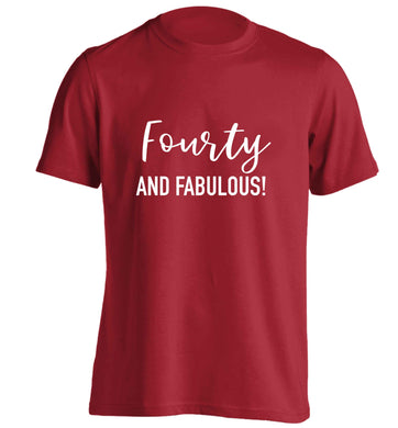 Fourty and fabulous adults unisex red Tshirt 2XL