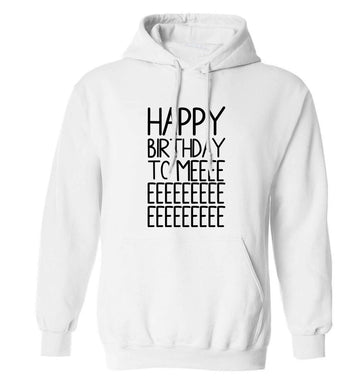 Happy birthday to me adults unisex white hoodie 2XL