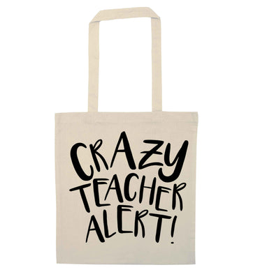 Crazy teacher alert natural tote bag