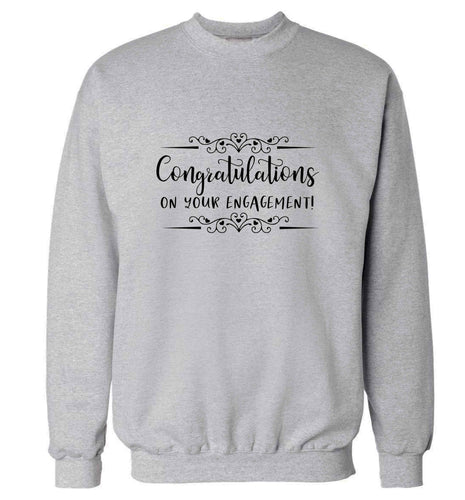 Congratulations on your engagement adult's unisex grey sweater 2XL
