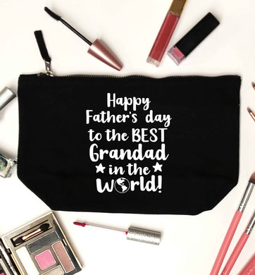 Happy Father's day to the best grandad in the world black makeup bag