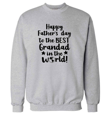 Happy Father's day to the best grandad in the world adult's unisex grey sweater 2XL