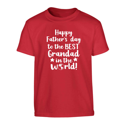 Happy Father's day to the best grandad in the world Children's red Tshirt 12-13 Years