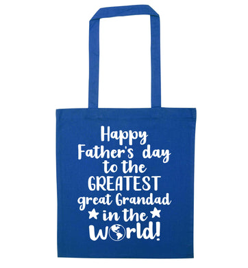 Happy Father's day to the greatest great grandad in the world blue tote bag