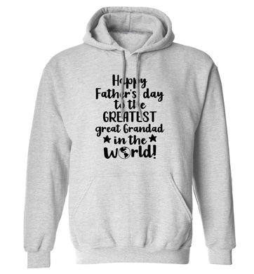 Happy Father's day to the greatest great grandad in the world adults unisex grey hoodie 2XL