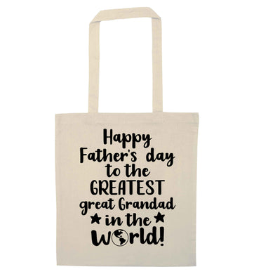 Happy Father's day to the greatest great grandad in the world natural tote bag