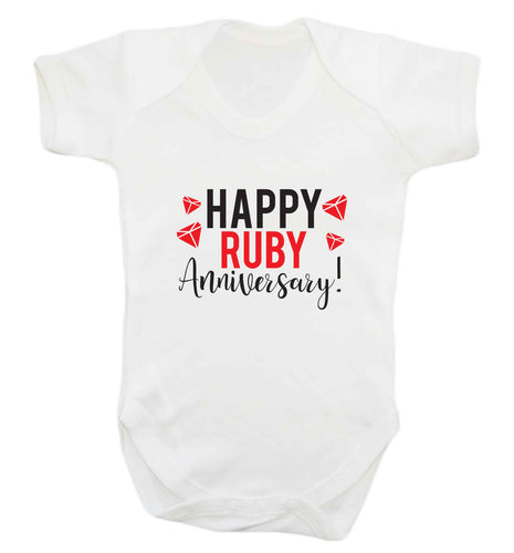 Happy ruby anniversary! baby vest white 18-24 months