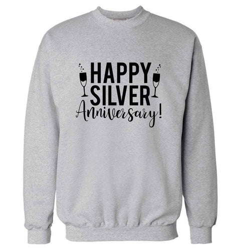 Happy silver anniversary! adult's unisex grey sweater 2XL