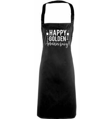 Happy golden anniversary! adults black apron