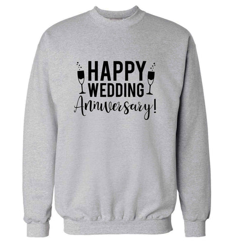 Happy wedding anniversary! adult's unisex grey sweater 2XL