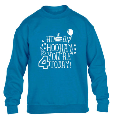 Hip hip hooray you're four today!children's blue sweater 12-13 Years