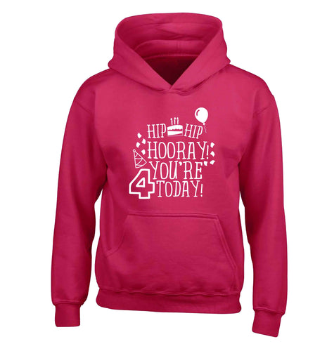 Hip hip hooray you're four today!children's pink hoodie 12-13 Years