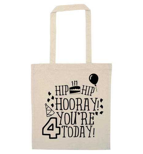 Hip hip hooray you're four today!natural tote bag