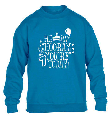 Hip hip hooray you're seven today! children's blue sweater 12-13 Years