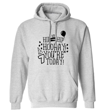 Hip hip hooray you're seven today! adults unisex grey hoodie 2XL
