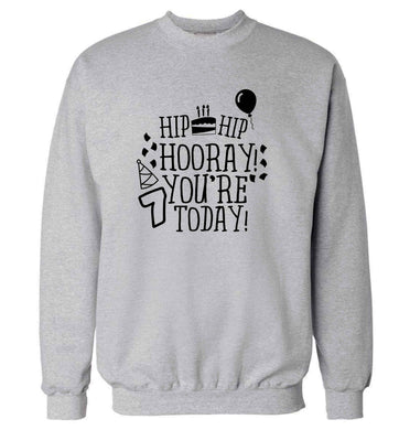 Hip hip hooray you're seven today! adult's unisex grey sweater 2XL