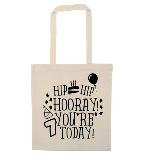 Hip hip hooray you're seven today! natural tote bag