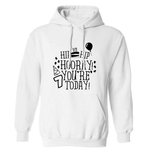 Hip hip hooray you're seven today! adults unisex white hoodie 2XL