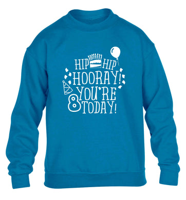 Hip hip hooray you're 8 today! children's blue sweater 12-13 Years