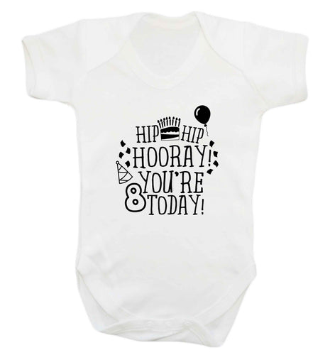 Hip hip hooray you're 8 today! baby vest white 18-24 months