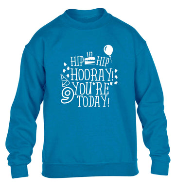 Hip hip hooray you're 9 today! children's blue sweater 12-13 Years