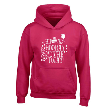 Hip hip hooray you're 9 today! children's pink hoodie 12-13 Years