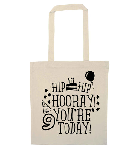 Hip hip hooray you're 9 today! natural tote bag