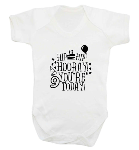 Hip hip hooray you're 9 today! baby vest white 18-24 months