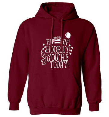 Hip hip hooray I you're eleven today! adults unisex maroon hoodie 2XL