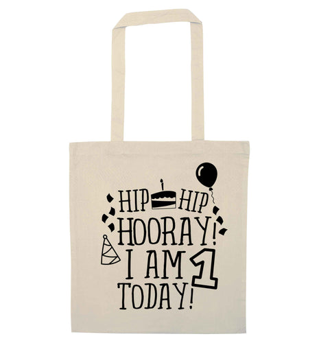 I am One Today natural tote bag
