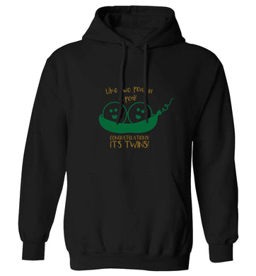 Like two peas in a pod! Congratulations it's twins! adults unisex black hoodie 2XL