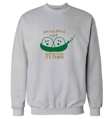 Like two peas in a pod! Congratulations it's twins! adult's unisex grey sweater 2XL