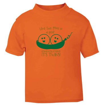 Like two peas in a pod! Congratulations it's twins! orange baby toddler Tshirt 2 Years