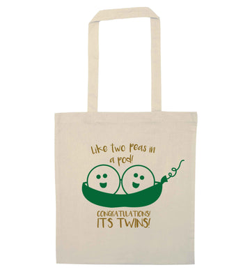 Like two peas in a pod! Congratulations it's twins! natural tote bag