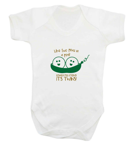 Like two peas in a pod! Congratulations it's twins! baby vest white 18-24 months