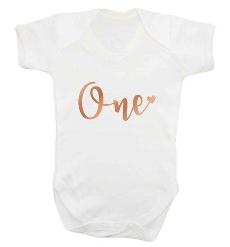 Rose Gold One baby vest white 18-24 months