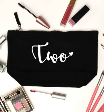 Two and Heart black makeup bag