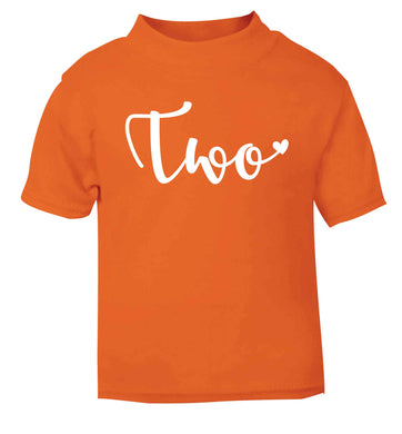 Two and Heart orange baby toddler Tshirt 2 Years