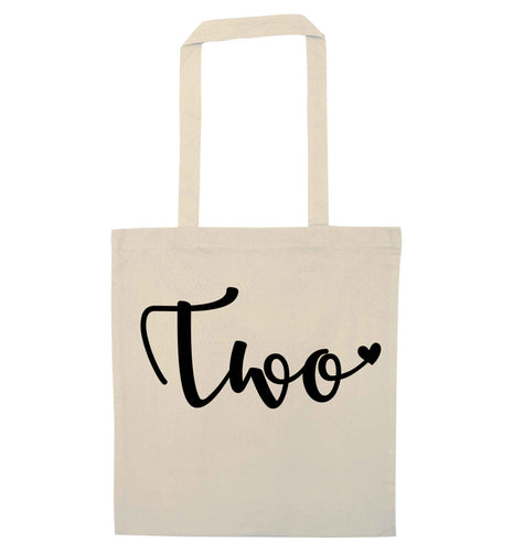 Two and Heart natural tote bag
