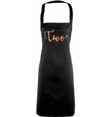 Two rose gold adults black apron