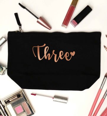 Three rose gold black makeup bag