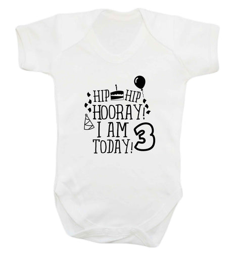 Hip hip hooray I'm 3 today! baby vest white 18-24 months