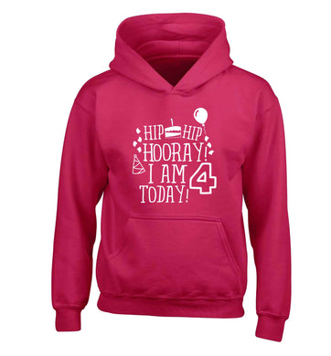 Hip hip hooray I am four today! children's pink hoodie 12-13 Years